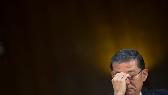 Veterans Affairs Secretary Eric Shinseki pauses while testifying on Capitol Hill in Washington Thursday before the Senate Veterans Affairs Committee hearing to examine the state of VA health care.