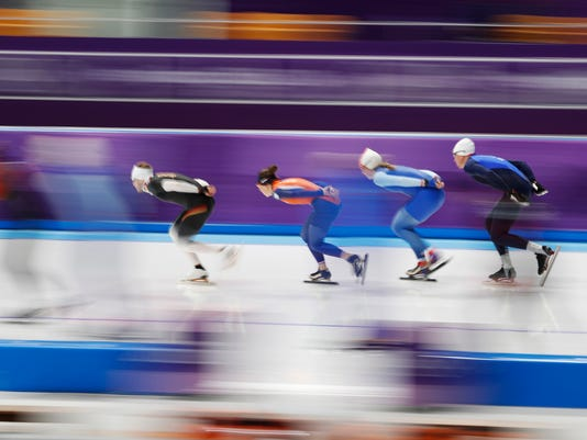 Skaters practice at the Gangneung Oval during a speed skating training session prior to the 2018 Winter Olympics in Gangneung, South Korea, Thursday, Feb. 8, 2018. (AP Photo/Petr David Josek)
