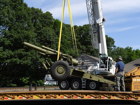 A howitzer used in WWII is moved from the property of the Woodcliff Lake VFW on Saturday, June 9, 2018. The howitzer is being moved to the Roseland VFW.