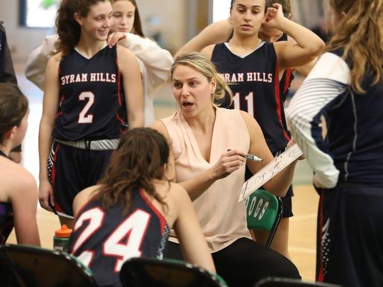 Byram Hills girls basketball coach Tara Ryan during