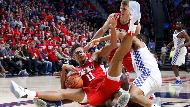 Ole Miss forward Sebastian Saiz (11) posted 23 points and 13 rebounds, but turned the ball over six times in a loss to Kentucky last week.