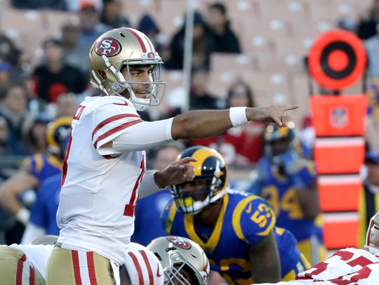 San Francisco 49ers quarterback Jimmy Garoppolo against