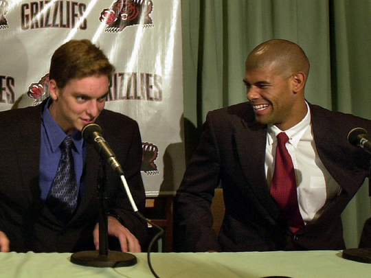 June 28, 2001: New Grizzlies Pau Gasol, left, and Shane Battier are introduced to the press at the Peabody Hotel.