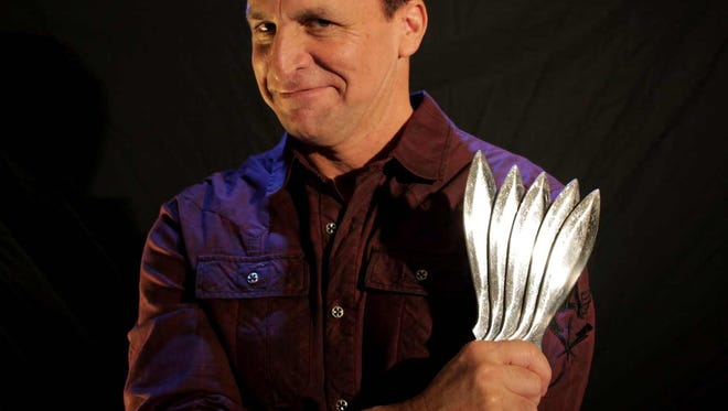 Stunt comedian Max Winfrey performs at the University of Providence Tuesday, Nov. 28.