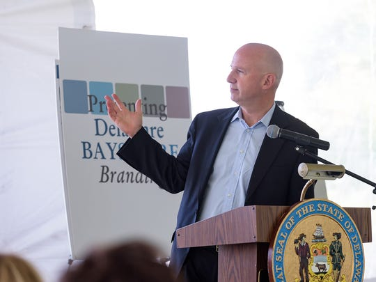 Gov. Jack Markell speaks at the Delaware Bayshore branding announcement at Thousand Acre Marsh on Friday.