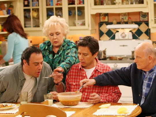 """Everybody Loves Raymond,"" starring (from left) Brad Garrett, left, Doris Roberts, Ray Romano and Peter Boyle, with Patricia Heaton in background."