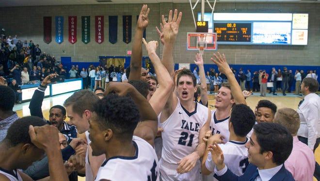 Yale celebrates its Ivy League title.