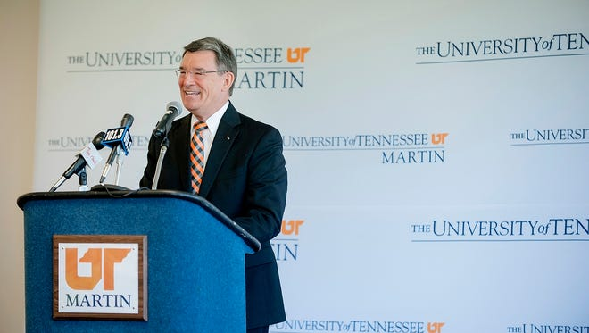 Dr. Robert Smith is introduced as interim chancellor at a May 1 reception at UT Martin's Boling University Center.