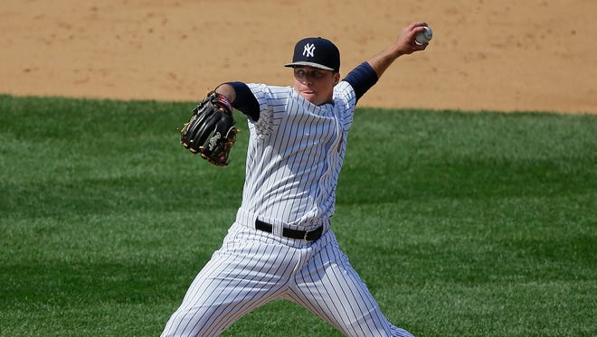Yankees pitcher Jacob Lindgren delivers against the Royals during the eighth inning in his Major League debut on Memorial Day.