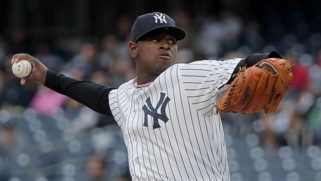 New York Yankees pitcher Luis Severino delivers against the Baltimore Orioles during the first inning of a baseball game, Saturday, Oct. 1, 2016, in New York.