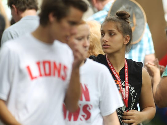 Leon junior Eden Kirn, a defender on the Lions' girls soccer team, participates in the #NeverAgain Rally on Feb. 21, 2018.