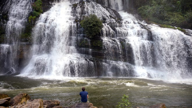 Rock Island State Park's largest waterfall is Twin Falls, which is 80 feet tall and can be easily seen from adjoining parking area overlooks.