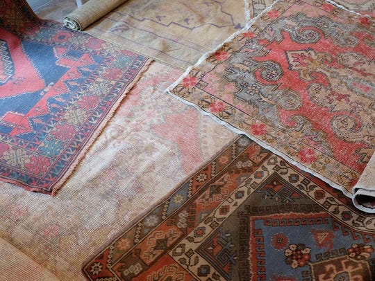 Vintage Turkish, hand-knotted rugs in a mixture of
