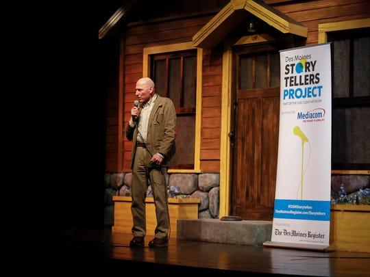 Kelley Donham shares his story at the Des Moines Storyteller's