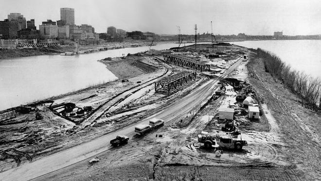 Work continues on the Mud Island theme park on the south end of Mud Island on Jan. 18, 1979.