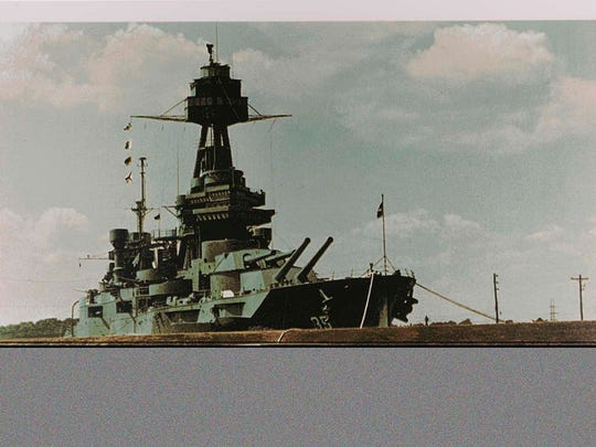 "Battleship Texas is a work by Tom Blackwell donated to The Smithsonian. It was one of six prints in the collection, all came in at the same time as ""Gift of the Ian Hornak Foundation, Robert Chad Smith, Eric Ian Spoutz and Rosemary Hornak."""