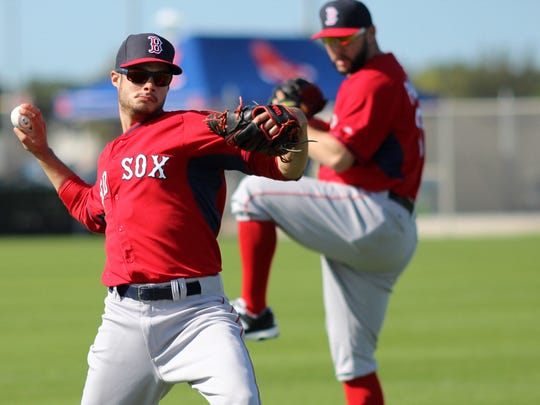 Anthony Varvaro and other Red Sox pitchers go through pitching drills at Saturday afternoon's Red Sox practice for the first day of spring training at Jet Blue Park.