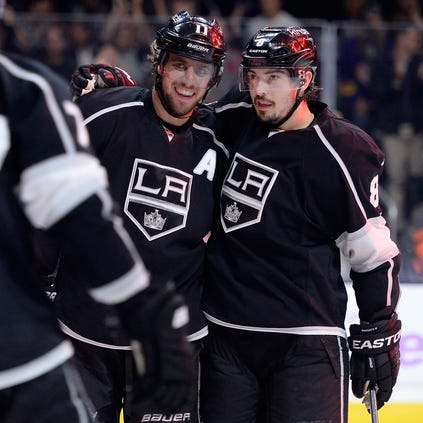 Anze Kopitar, left, and Drew Doughty, right, are franchise