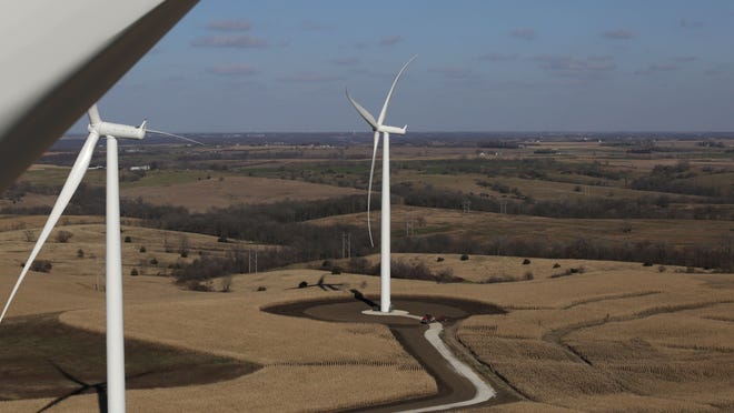 This is the view from atop a MidAmerican Energy wind turbine during a tour last year at the Macksburg wind project turbine farm in rural Macksburg. A shakeup on the Iowa Utilities Board follows a ruling that went against MidAmerican Energy.