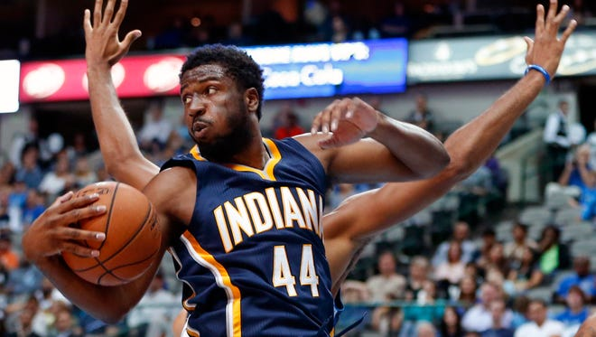 Oct 12, 2014; Dallas, TX, USA; Indiana Pacers forward Solomon Hill (44) grabs a rebound during the first half against the Dallas Mavericks at American Airlines Center. Mandatory Credit: Kevin Jairaj-USA TODAY Sports