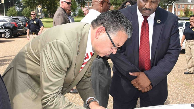 The city of Monroe donated two police cars to Grambling State University in a ceremony Wednesday on the campus of the school.
