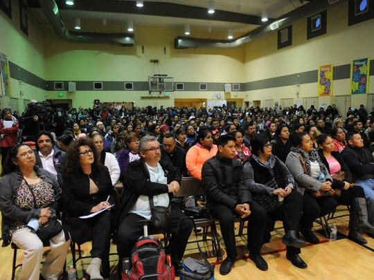 A crowd of roughly 600 packs the immigration forum on Thursday evening at Jesse G. Sanchez School
