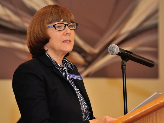 Mahwah Township Council candidate Vicky Galow speaks during the meet the candidates forum.