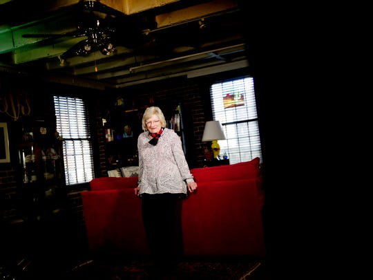 Longtime political columnist Georgiana Vines poses for a portrait at her Crown Court condo in downtown Knoxville, Tennessee on Thursday, January 11, 2018. Vines has covered 50 years of politics in Knoxville.