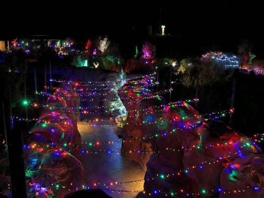 Holiday lights decorate the Red Hills Desert Garden in St. George.