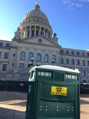 Port-a-potties at the Mississippi Capitol.