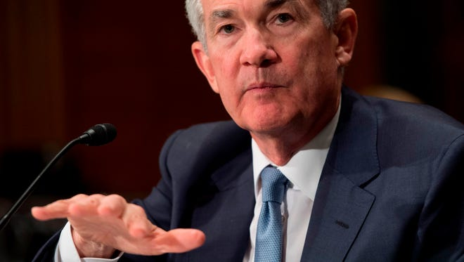 Federal Reserve Board Chairman Jerome Powell testifies during a Senate Banking, Housing and Urban Affairs Committee on March 1.