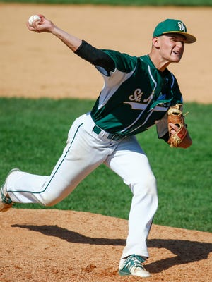 St. Mark's starter Billy Sullivan delivers in the fifth inning of Caravel's 6-1 win in a semifinal of the DIAA state high school tournament Thursday at Frawley Stadium.