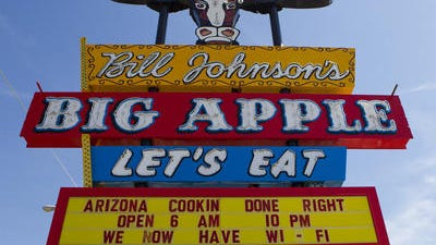 Bill Johnson's Big Apple sign at 3757 E. Van Buren St., Phoenix. The 59-year icon closed May 24.