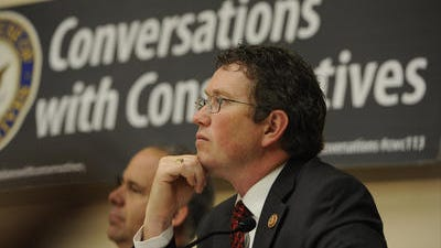 Rep. Thomas Massie, R-Garrison, at a conservative event on Capitol Hill iast week. When Republicans and Democrats agree on something, he says, it's almost always to spend more money.