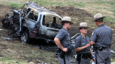 Crash scene of the fiery head-on crash on the Taconic State Parkway on July 26, 2009, that left eight people dead, including four young children.