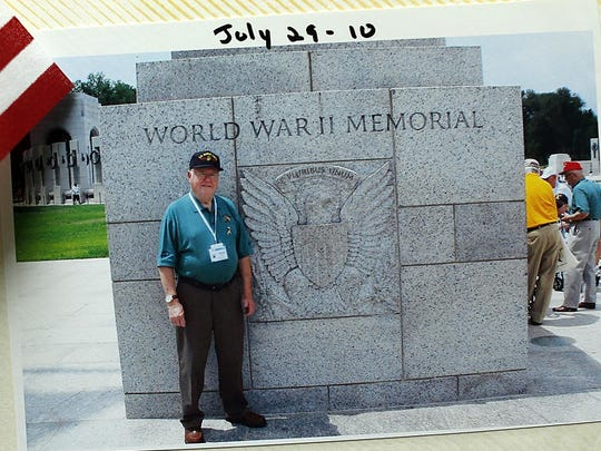 A photo of World War II veteran Harold C. Kaye from when he took part in an Old Glory Honor Flight to Washington, D.C., in 2010.