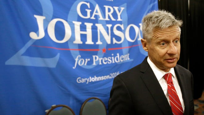 In this May 27, 2016, photo, Libertarian presidential candidate Gary Johnson speaks at the National Libertarian Party Convention in Orlando, Fla. Ohio Secretary of State Jon Husted's office announced Wednesday, Aug. 24, 2016, that Libertarian Party activists, seeking to place party nominee Gary Johnson on Ohio's fall ballot, met voter signature requirements when they submitted petitions that listed Charlie Earl, a 2014 candidate for governor, as a placeholder because they began collecting signatures before Johnson's nomination.