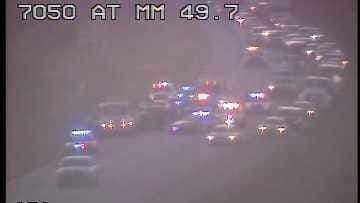 A multiple vehicle crash has shut down traffic on the southbound lanes of Alligator Alley near mile marker 50.
