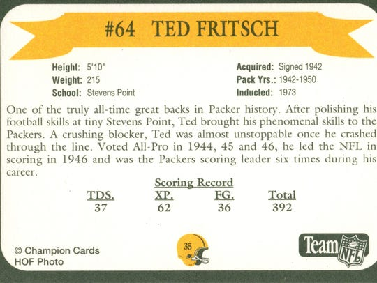 Packers Hall of Fame player Ted Fritsch