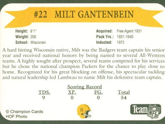 Packers Hall of Fame player Milt Gantenbein