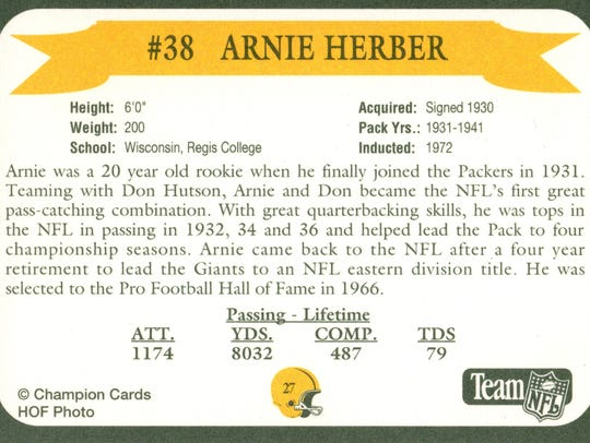 Packers Hall of Fame player Arnie Herber