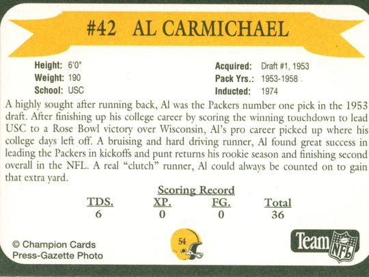 Packers Hall of Fame player Al Carmichael