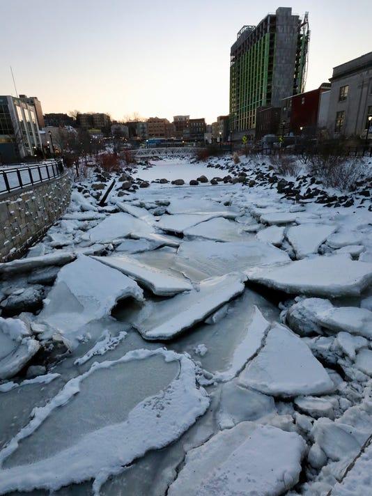Saw Mill River frozen in Yonkers