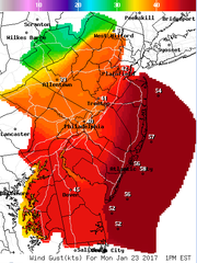 Wind speeds are expected to peak Monday afternoon with the intensification of the storm.