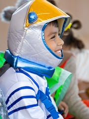 Joaquin Hernandez, 9, of Las Cruces, is dressed as a astronaut on Saturday, April 14, 2018 during Las Cruces Space Fest's Space Walk.