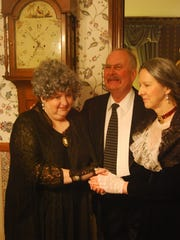"Patti Hann as Abby Brewster, Scott Cairns as Teddy Brewster and Debra Kennedy as Martha Brewster in a scene from CCT's ""Arsenic and Old Lace."""