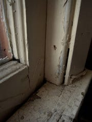 Window sill at a Milwaukee home undergoing lead abatement
