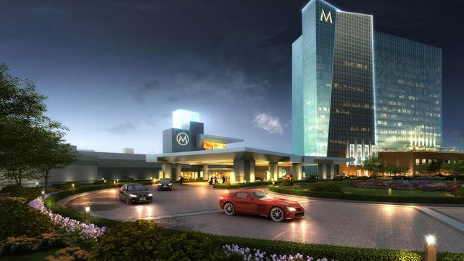 This architectural rendering image provided by JCJ Architecture shows an exterior view of the proposed Montreign Resort Casino in Thompson, New York.