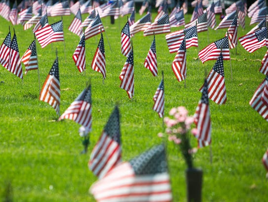 American flags at Delaware Veterans Memorial Cemetery.