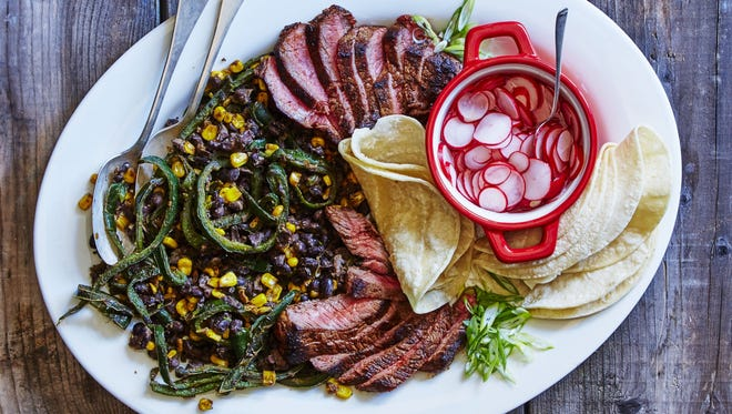Martha & Marley Spoon meal kits include options like ancho-rubbed steak with corn, bean, and poblano sauté.